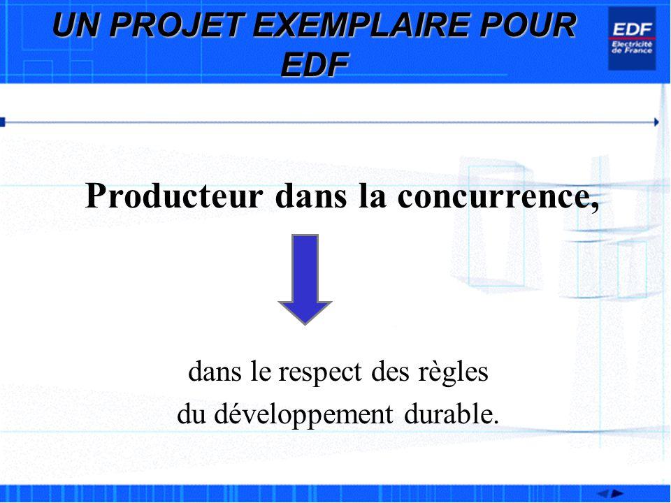 UN PROJET EXEMPLAIRE POUR EDF Producteur dans la concurrence,
