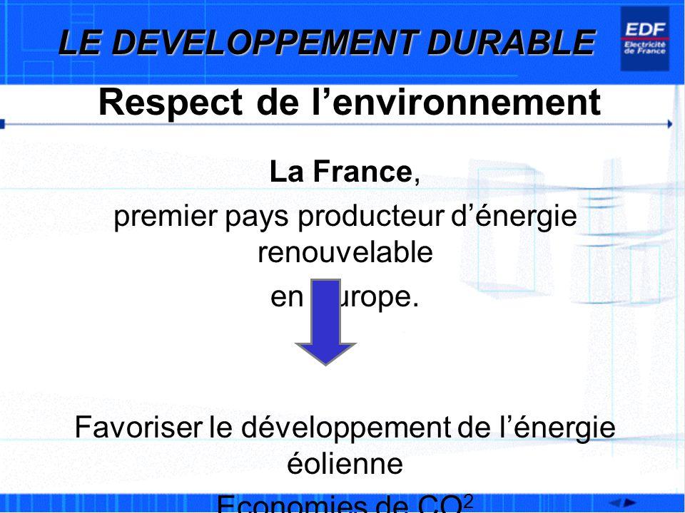 LE DEVELOPPEMENT DURABLE Respect de l'environnement