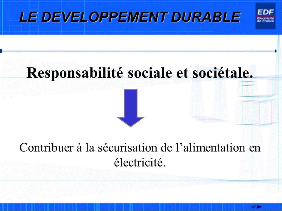 LE DEVELOPPEMENT DURABLE Responsabilité sociale et sociétale.