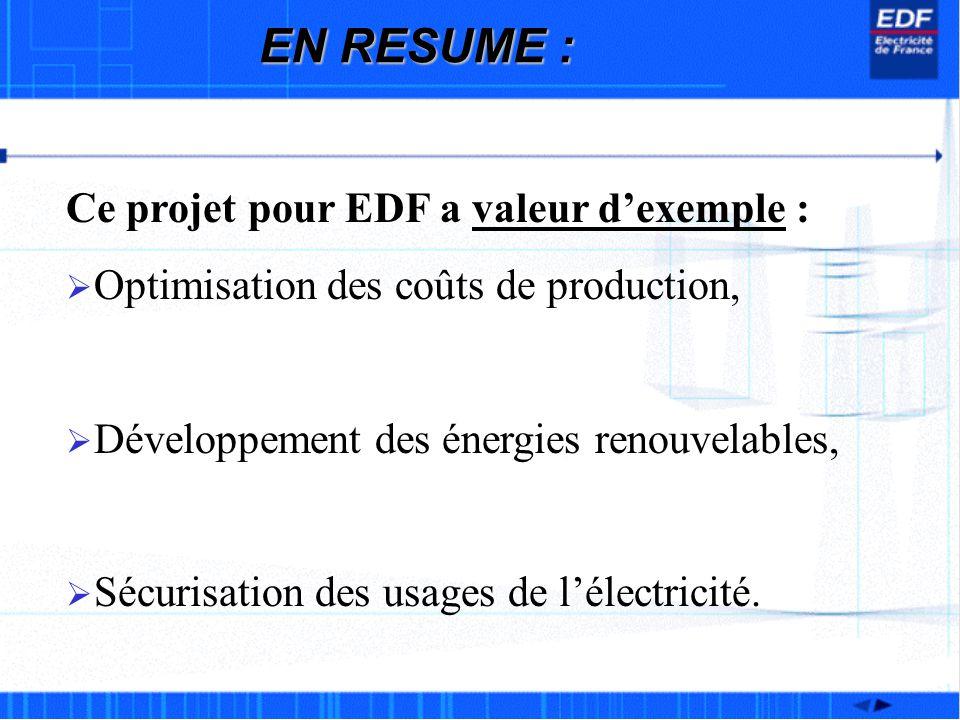 EN RESUME : Ce projet pour EDF a valeur d'exemple :