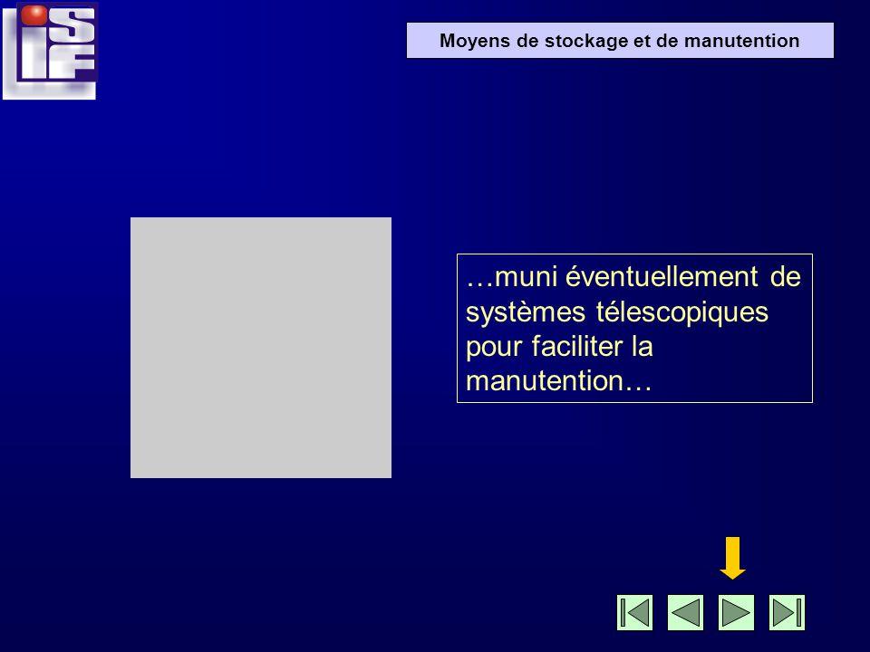 …muni éventuellement de systèmes télescopiques pour faciliter la manutention…