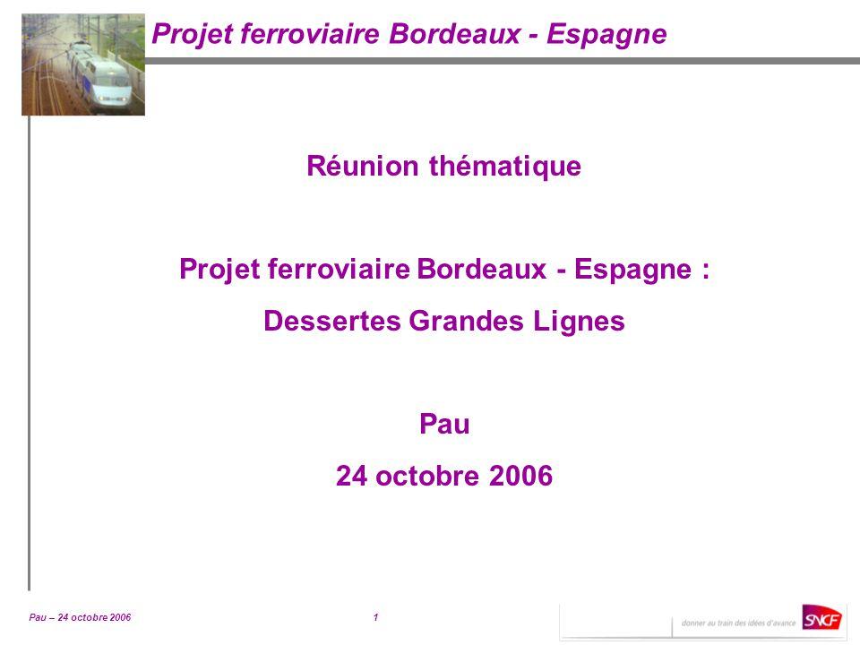 Projet ferroviaire Bordeaux - Espagne : Dessertes Grandes Lignes
