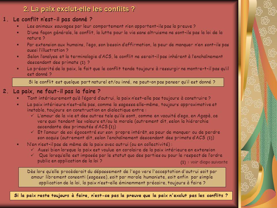 2. La paix exclut-elle les conflits
