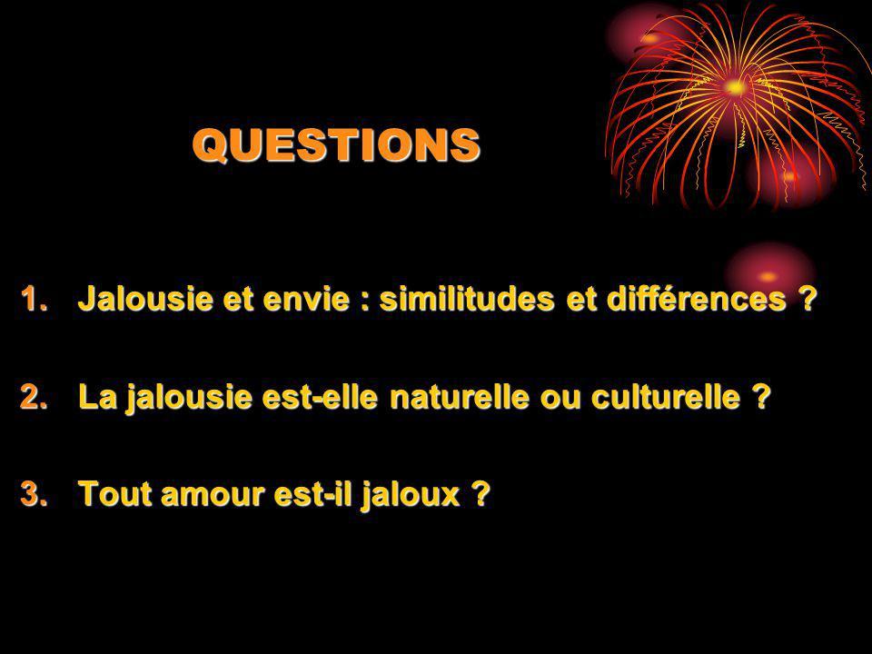 QUESTIONS Jalousie et envie : similitudes et différences