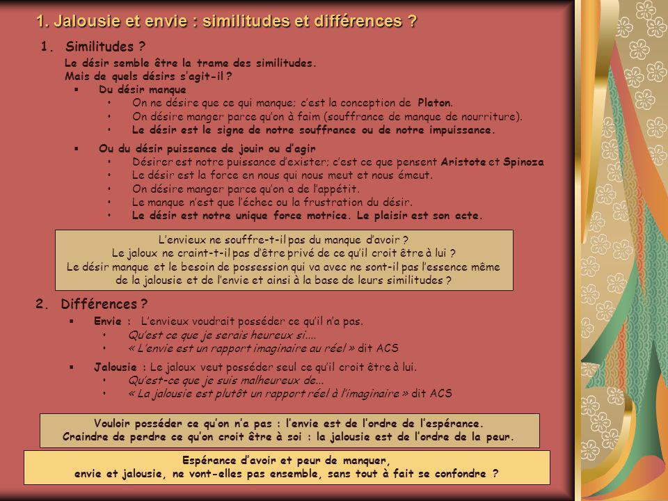 1. Jalousie et envie : similitudes et différences