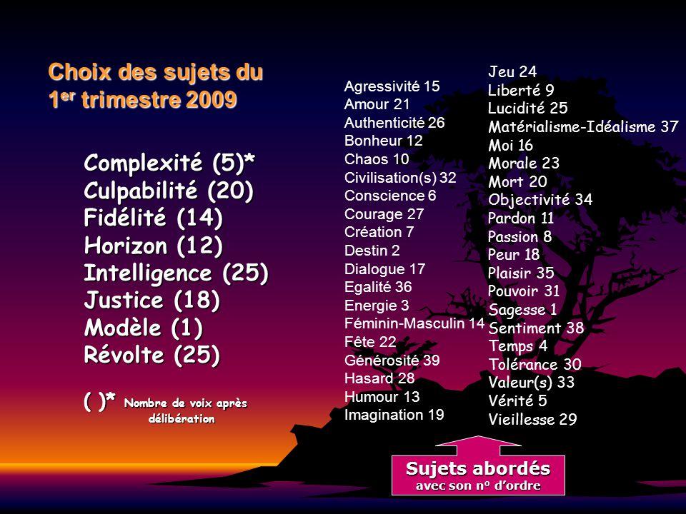 Choix des sujets du 1er trimestre 2009