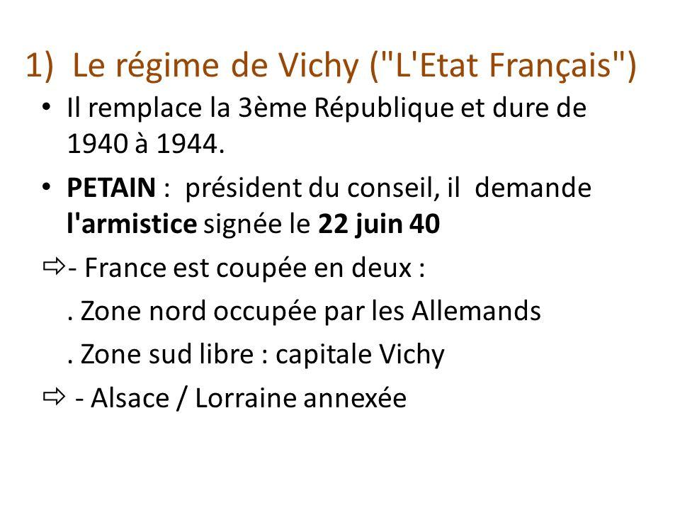 1) Le régime de Vichy ( L Etat Français )