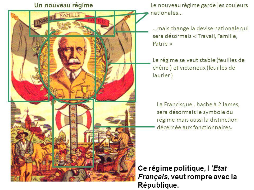 Ce régime politique, l 'Etat Français, veut rompre avec la République.