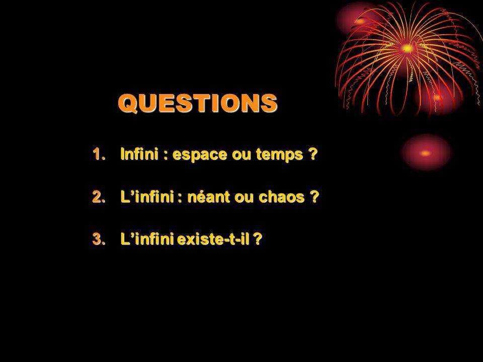 QUESTIONS Infini : espace ou temps L'infini : néant ou chaos