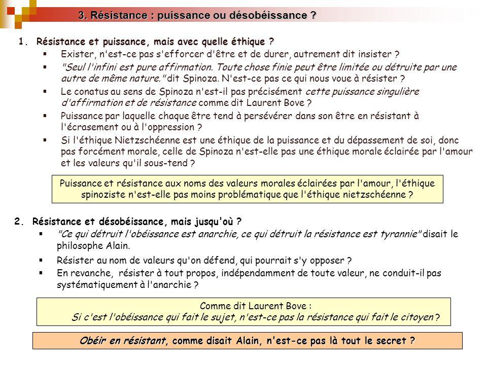 3. Résistance : puissance ou désobéissance