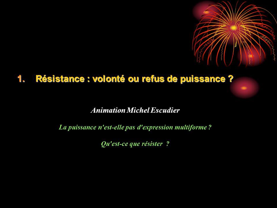 Résistance : volonté ou refus de puissance