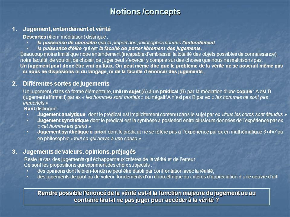 Notions /concepts Jugement, entendement et vérité