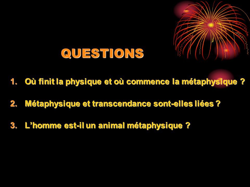 QUESTIONS Où finit la physique et où commence la métaphysique