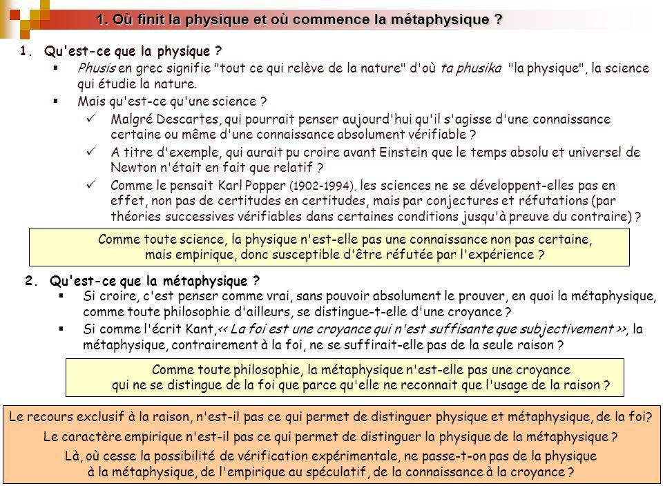 1. Où finit la physique et où commence la métaphysique