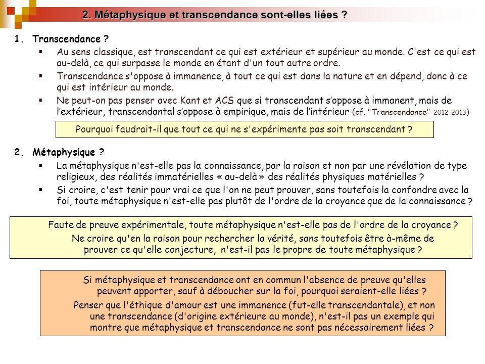 2. Métaphysique et transcendance sont-elles liées