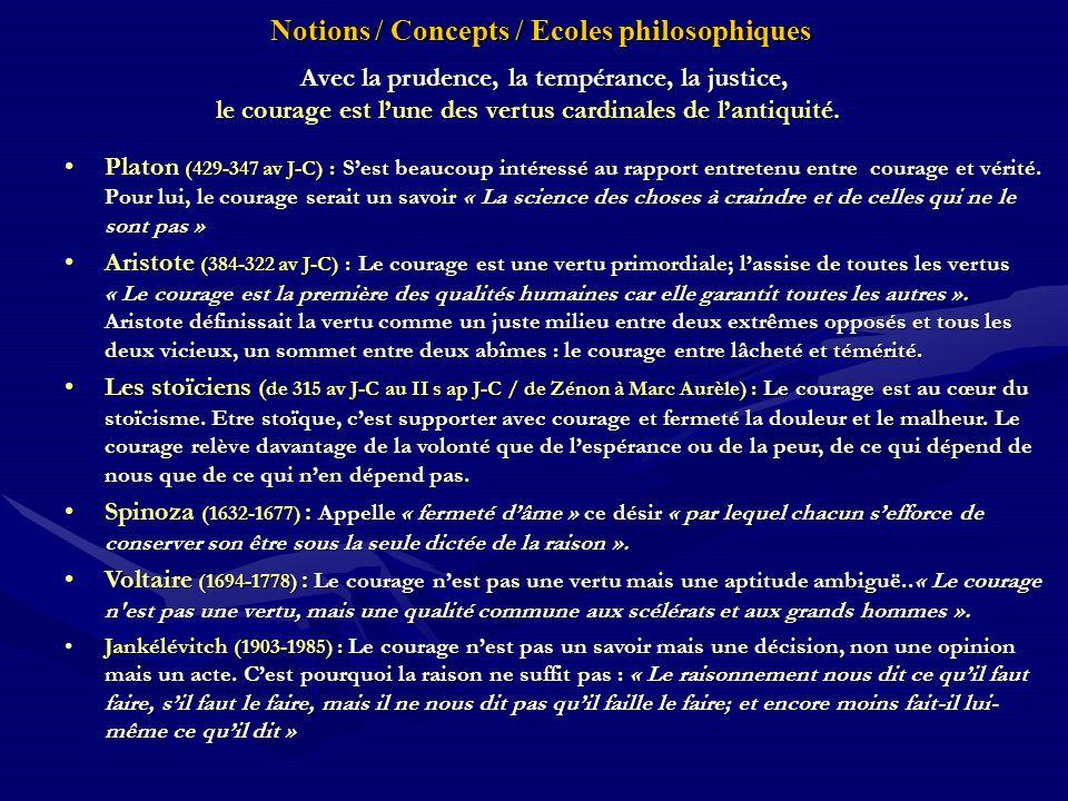Notions / Concepts / Ecoles philosophiques