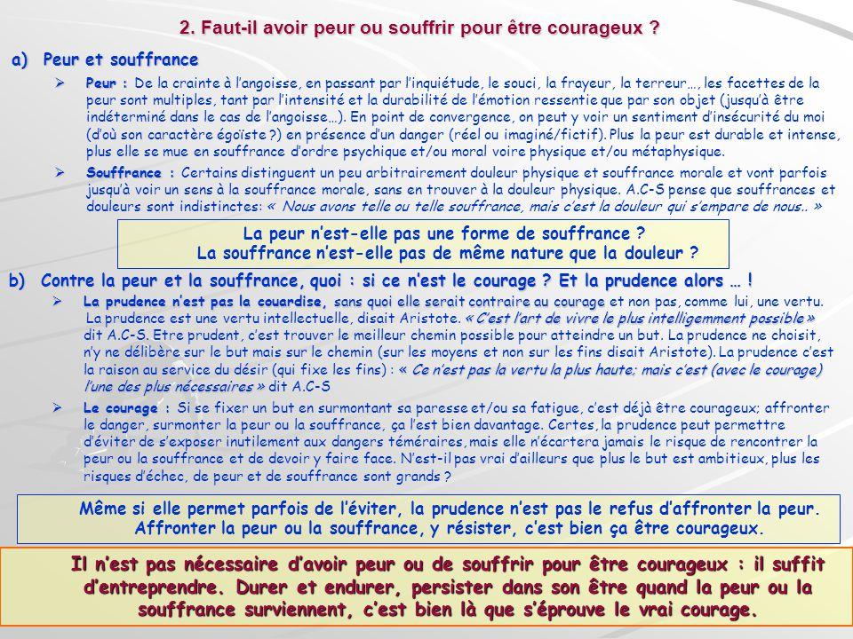 2. Faut-il avoir peur ou souffrir pour être courageux