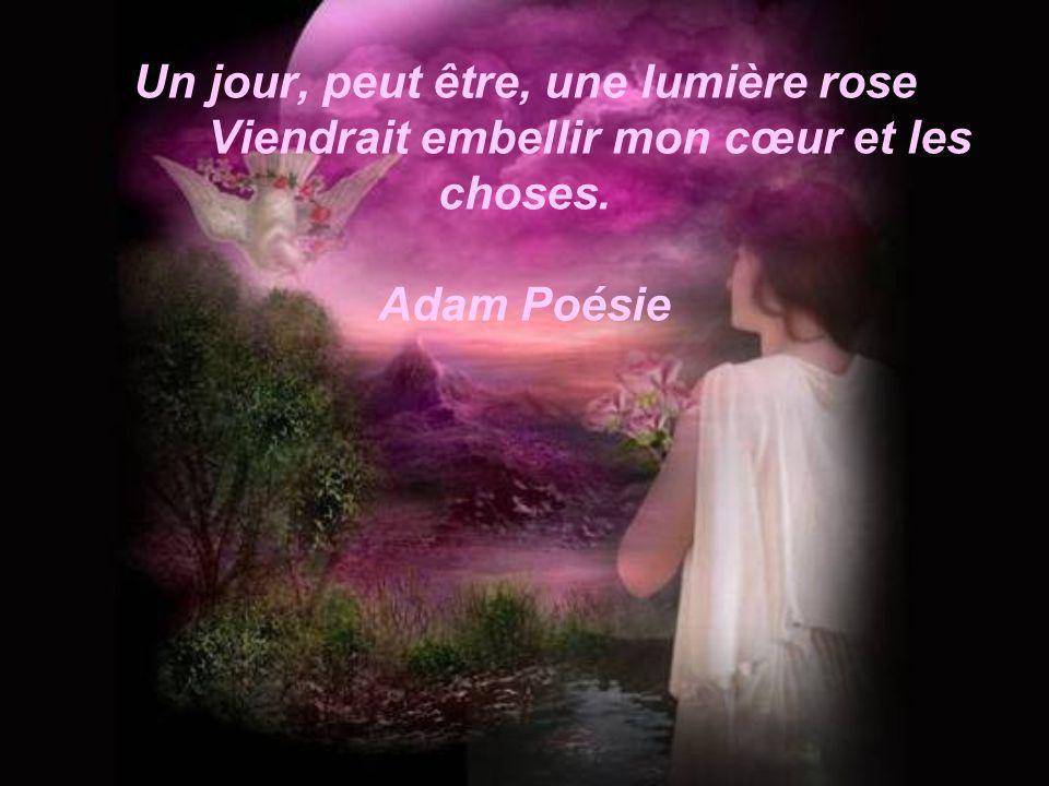 Un jour, peut être, une lumière rose Viendrait embellir mon cœur et les choses. Adam Poésie