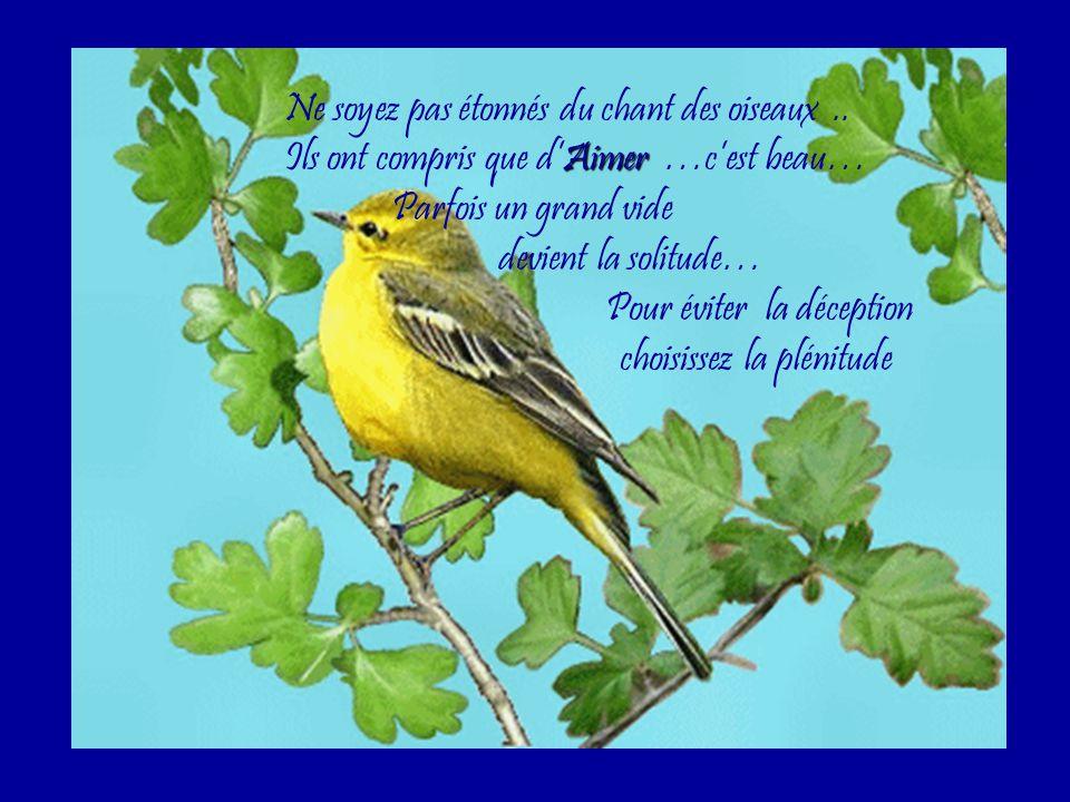 Ne soyez pas étonnés du chant des oiseaux