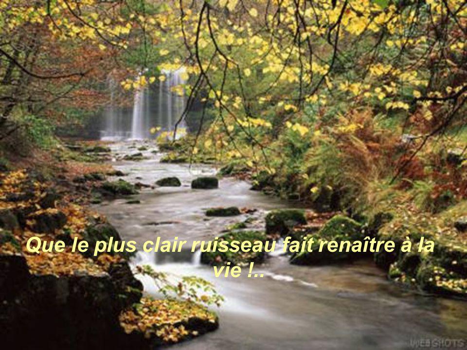 Que le plus clair ruisseau fait renaître à la vie !..