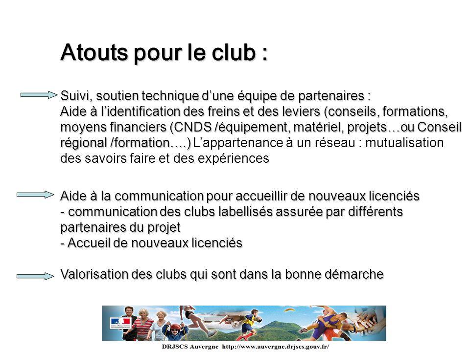 Atouts pour le club : Suivi, soutien technique d'une équipe de partenaires :