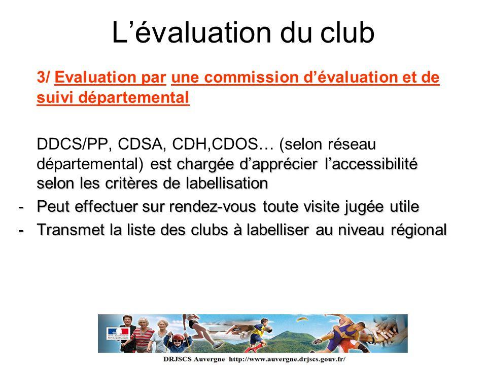 L'évaluation du club 3/ Evaluation par une commission d'évaluation et de suivi départemental.