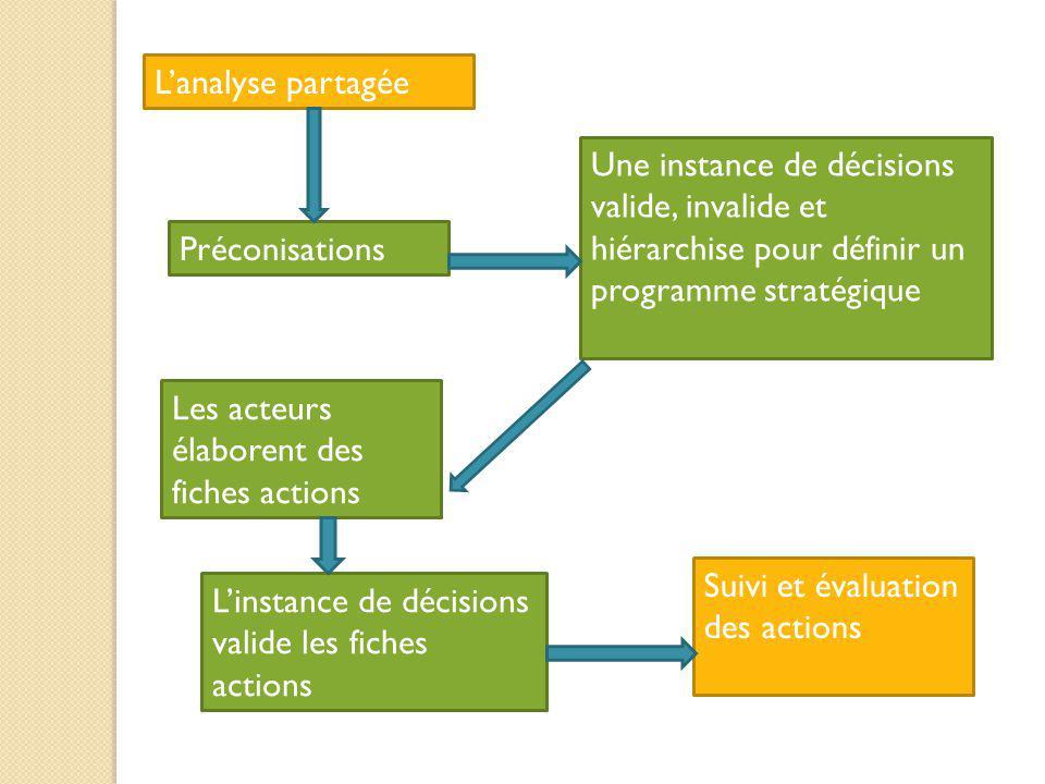 L'analyse partagée Une instance de décisions valide, invalide et hiérarchise pour définir un programme stratégique.