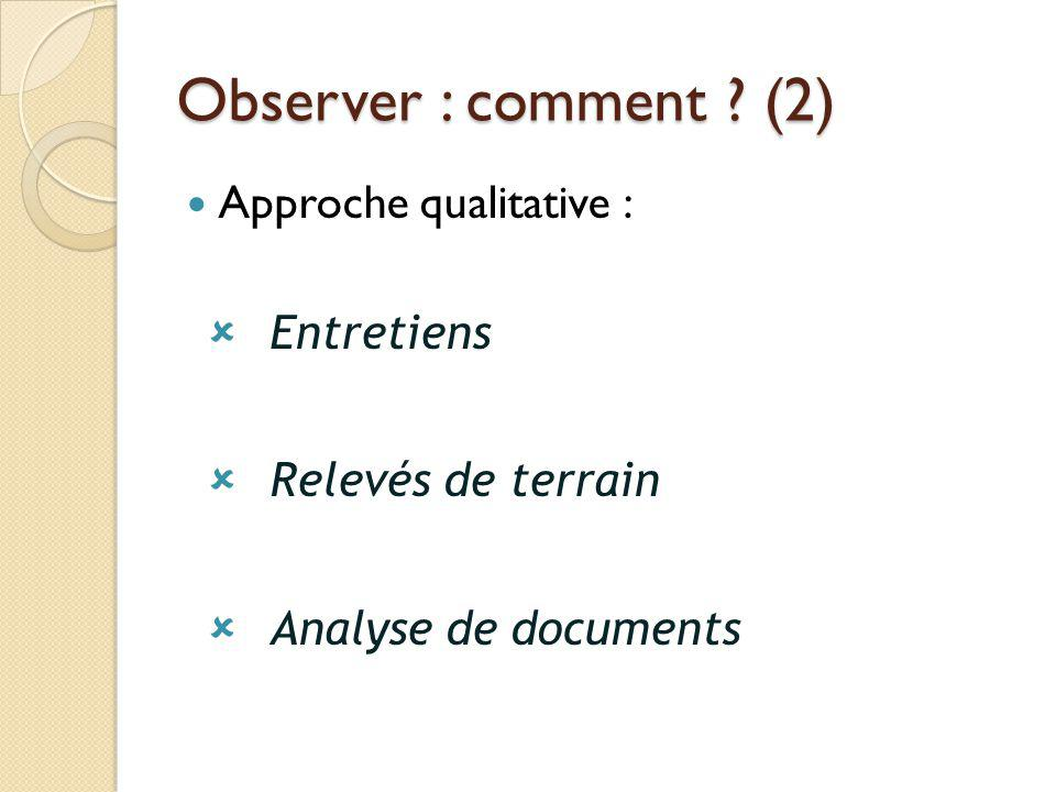 Observer : comment (2) Approche qualitative : Entretiens