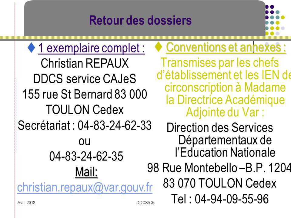  Conventions et annexes :