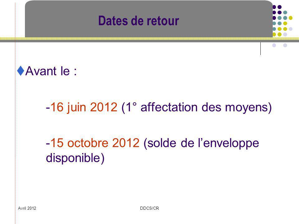 Dates de retour Avant le : -16 juin 2012 (1° affectation des moyens)