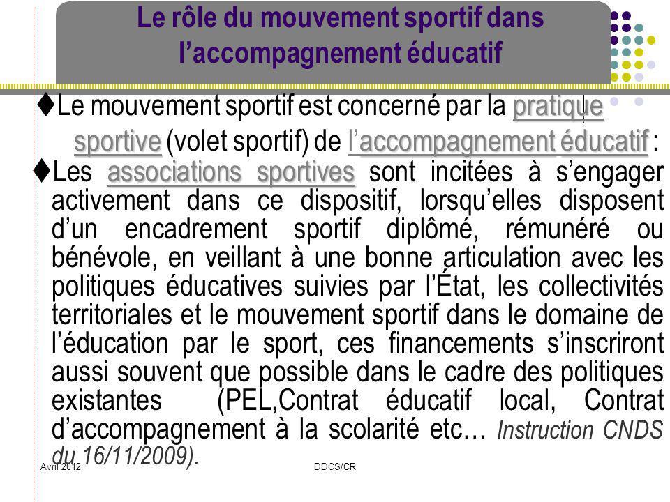Le rôle du mouvement sportif dans l'accompagnement éducatif