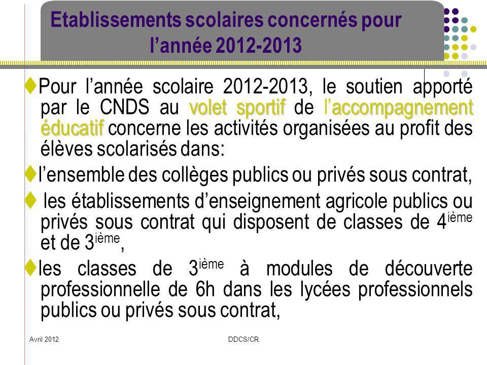 Etablissements scolaires concernés pour l'année 2012-2013