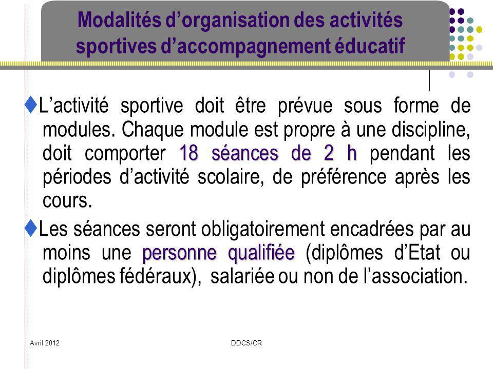 Modalités d'organisation des activités sportives d'accompagnement éducatif