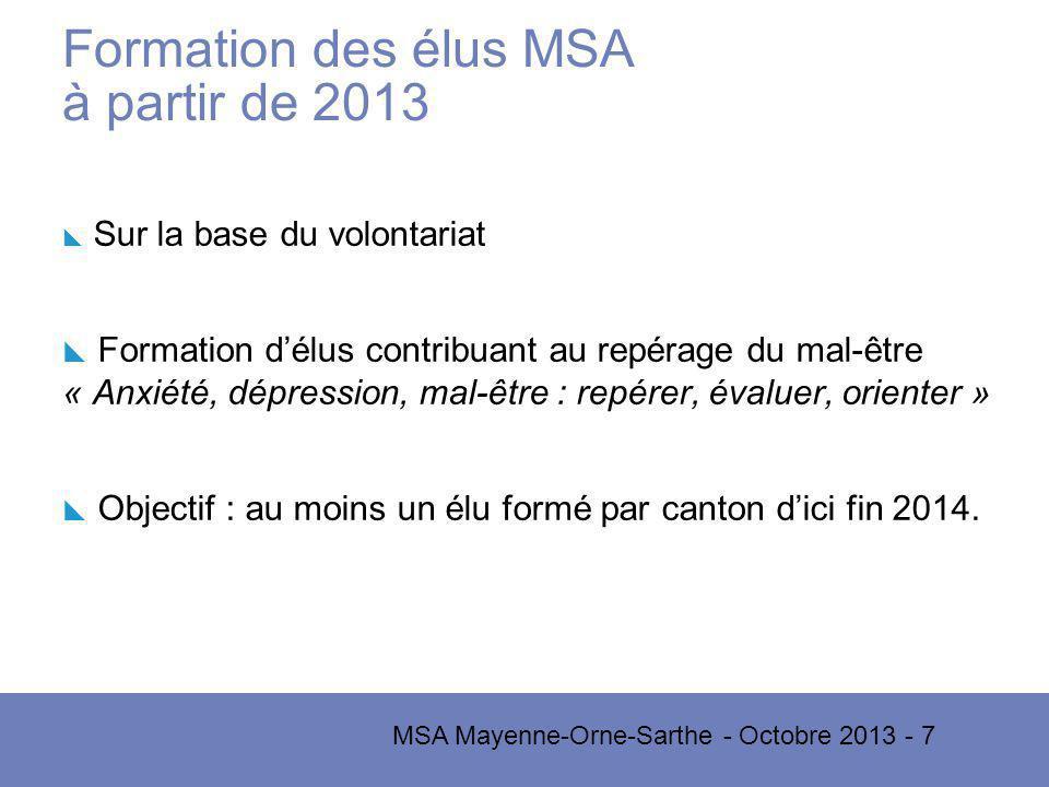 Formation des élus MSA à partir de 2013