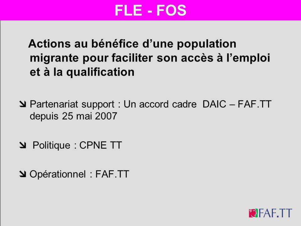 FLE - FOS FLE - FOS. Actions au bénéfice d'une population migrante pour faciliter son accès à l'emploi et à la qualification.