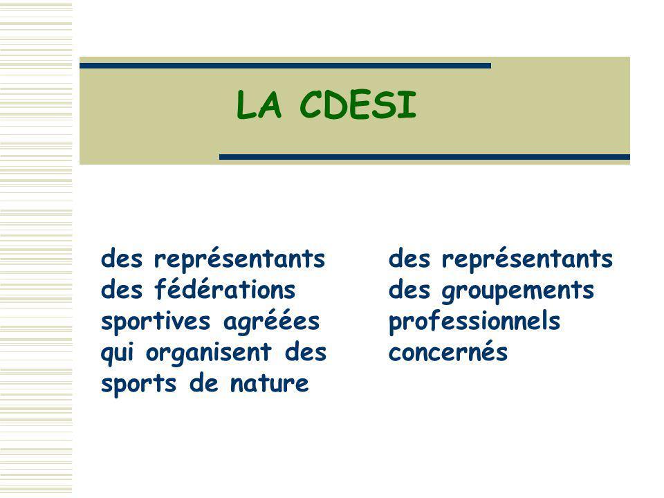 LA CDESI des représentants des fédérations sportives agréées qui organisent des sports de nature.