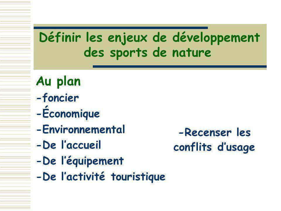 Définir les enjeux de développement -Recenser les conflits d'usage