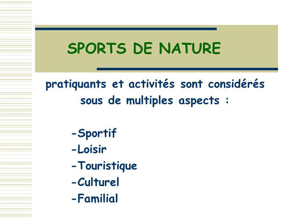 pratiquants et activités sont considérés sous de multiples aspects :