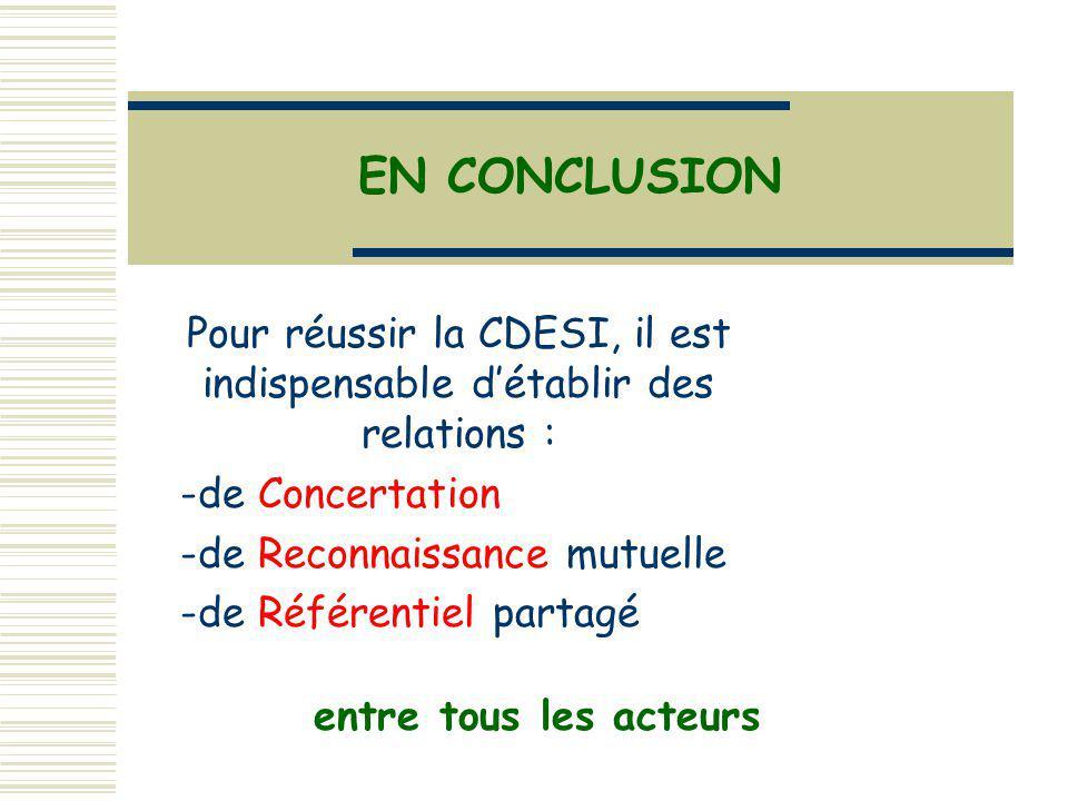 Pour réussir la CDESI, il est indispensable d'établir des relations :