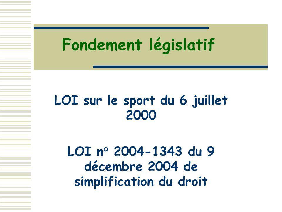 Fondement législatif LOI sur le sport du 6 juillet 2000