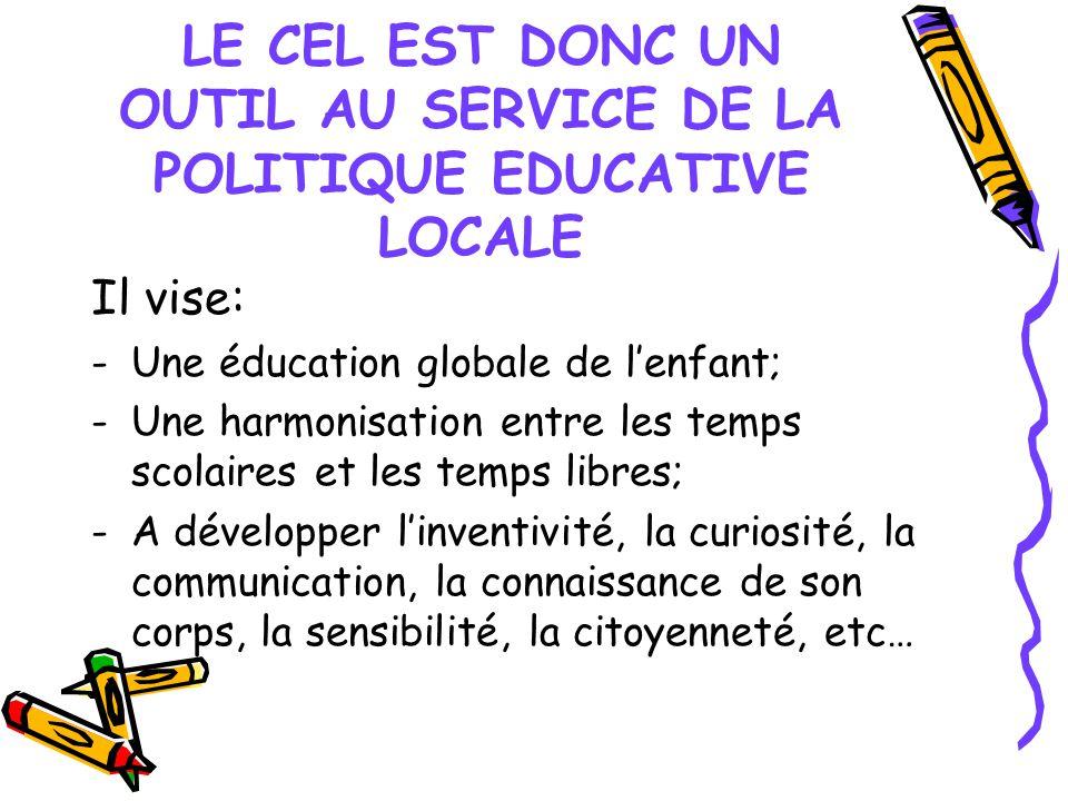 LE CEL EST DONC UN OUTIL AU SERVICE DE LA POLITIQUE EDUCATIVE LOCALE