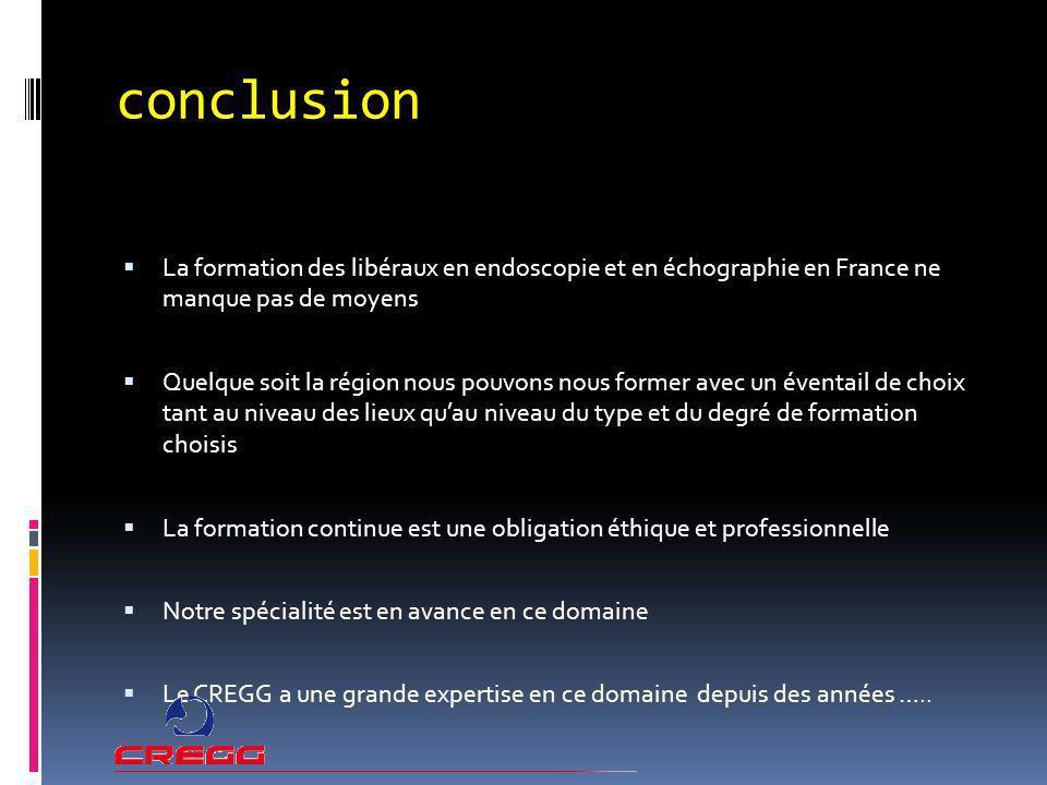 conclusion La formation des libéraux en endoscopie et en échographie en France ne manque pas de moyens.