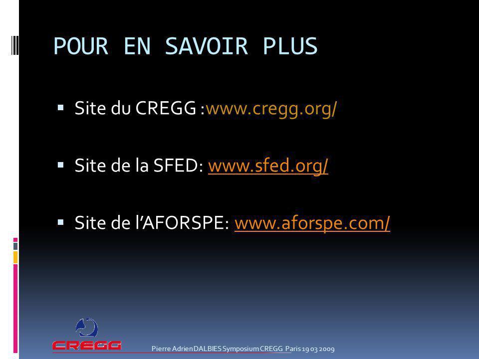 POUR EN SAVOIR PLUS Site du CREGG :www.cregg.org/