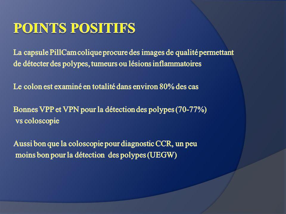 POINTS POSITIFS La capsule PillCam colique procure des images de qualité permettant. de détecter des polypes, tumeurs ou lésions inflammatoires.