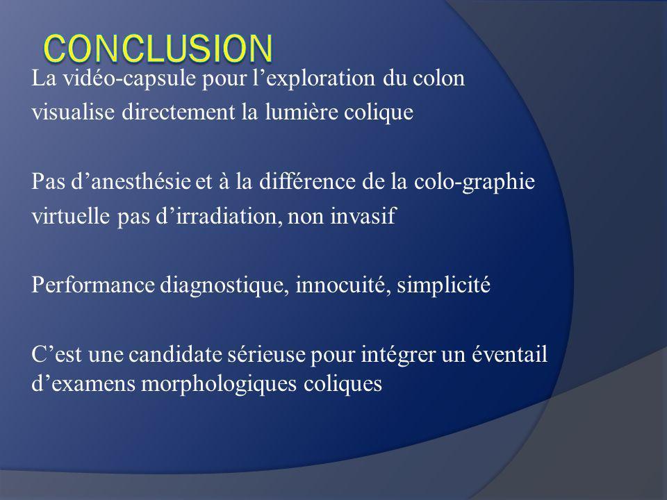 CONCLUSION La vidéo-capsule pour l'exploration du colon