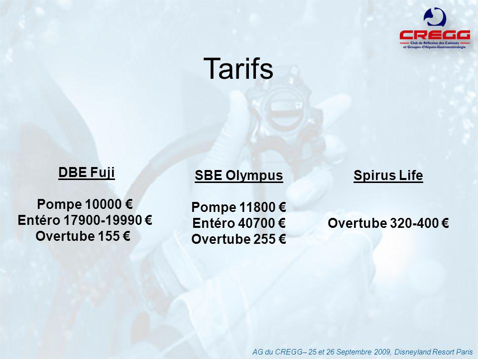 Tarifs DBE Fuji Pompe 10000 € Entéro 17900-19990 € Overtube 155 €