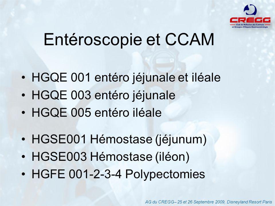 Entéroscopie et CCAM HGQE 001 entéro jéjunale et iléale