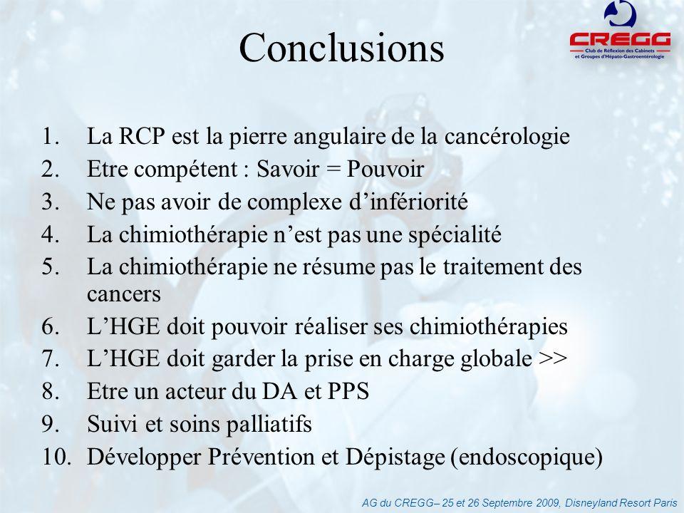 Conclusions La RCP est la pierre angulaire de la cancérologie