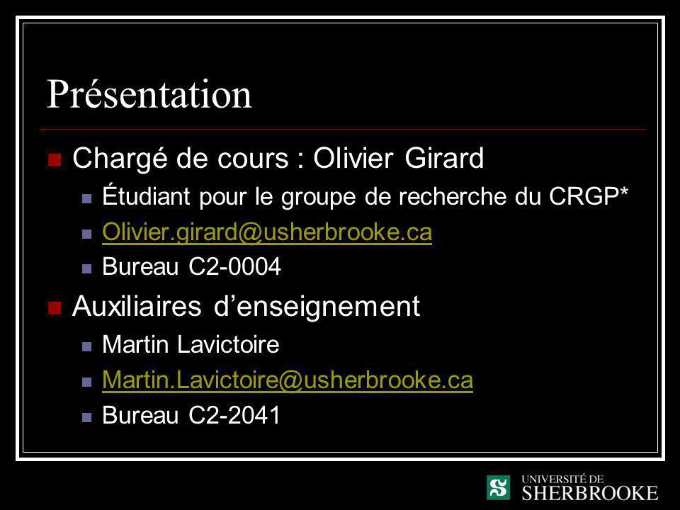 Présentation Chargé de cours : Olivier Girard