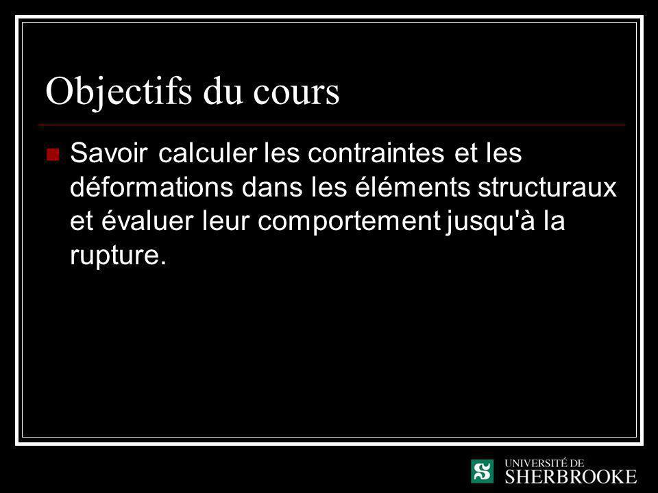 Objectifs du cours Savoir calculer les contraintes et les déformations dans les éléments structuraux et évaluer leur comportement jusqu à la rupture.